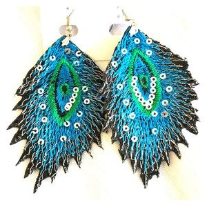 Jewelry - NWT Sequin Peacock Inspired Earrings